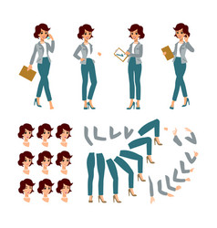 Animate businesswoman character young lady vector