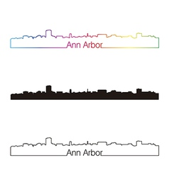 Ann Arbor skyline linear style with rainbow vector image
