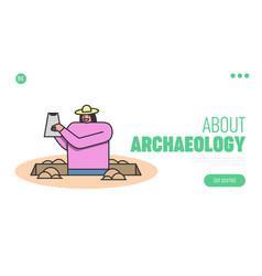 Archeology excavation concept website landing vector