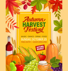 autumn harvest festival flyer with pumpkins vector image