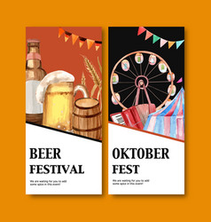 Beer festival in munich germany flyer design vector