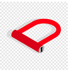 Bicycle lock u shaped isometric icon vector