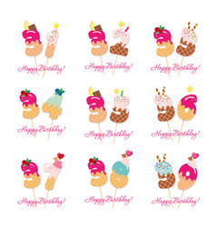 birthday card set festive sweet numbers from 31 vector image