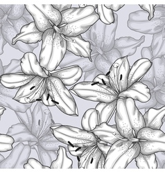 black and white seamless background with lilies vector image