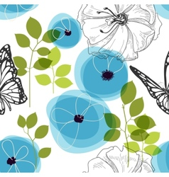 Blue flowers and butterfly over white nature vector image