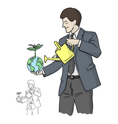 Businessman holding plant on green world and vector