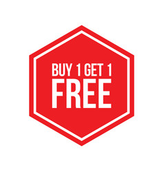Buy one get one free sign numbers hexagon vector