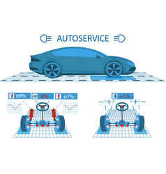 Car service scanning graphical interface vector