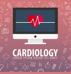 cardiology medical background health care vector image