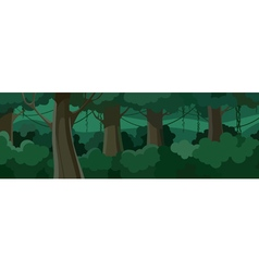 cartoon summer forest with green lush foliage vector image