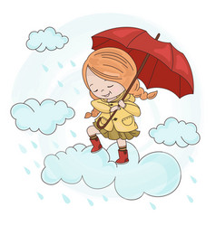 Cloud girl autumn fall umbrella season illu vector