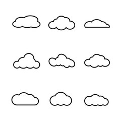 cloud shapes collection on a white background vector image