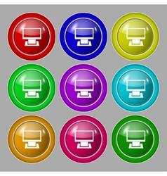 Computer widescreen monitor sign icon Set vector