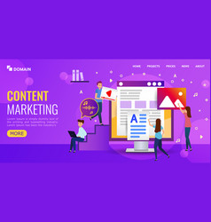 content marketing fot landing page or vector image