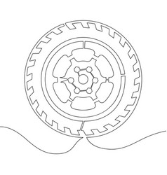 continuous line drawing car wheel line vector image