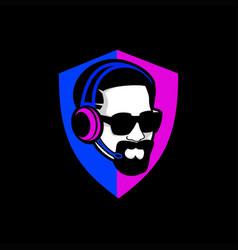 Cool man shield gaming logo vector