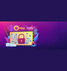 Cryptography and encryption concept banner header vector