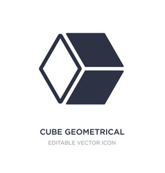Cube geometrical icon on white background simple vector