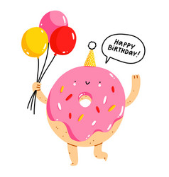 cute donut character with balloons happy birthday vector image