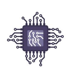 Digital processor icon cpu micro chip vector