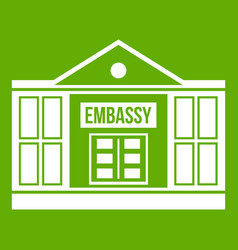 Embassy icon green vector