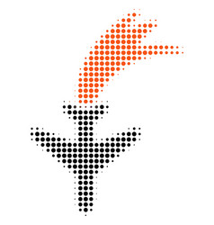 Falling airplane halftone icon vector