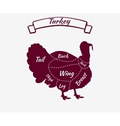 Farm Bird Silhouette Turkey meat Cuts Butcher shop vector image