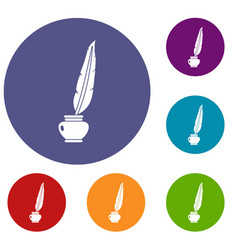 Feather quill pen standing in bottle of ink icons vector