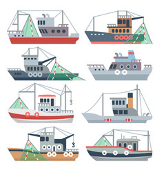 Fishing ocean boats commercial fisherman ships vector