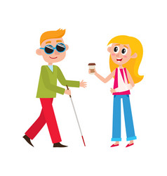 Flat girl with broken arm and blind man vector