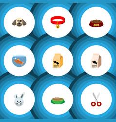 flat icon animal set of kitty collar nutrition vector image