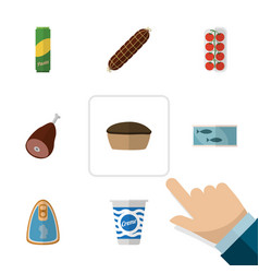 Flat icon eating set of tart yogurt meat and vector