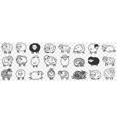 Funny white and black sheep animals doodle set vector