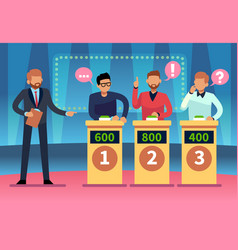 Game quiz show clever young people playing vector