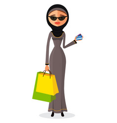 glamorous arab woman standing in her traditional vector image