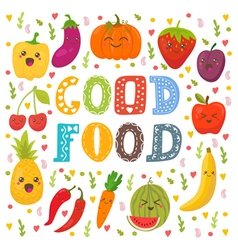 Good food Cute happy fruits and vegetables in vector image