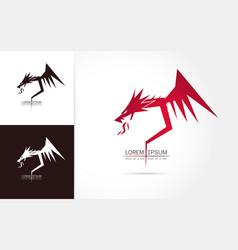 Graceful dragon silhouette logo vector