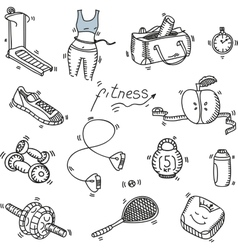Hand drawn doodle sketch icons set fitness and vector image