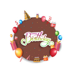 Happy birthday design with brown circle and vector