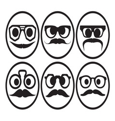 Hipster smiley set2 resize vector image