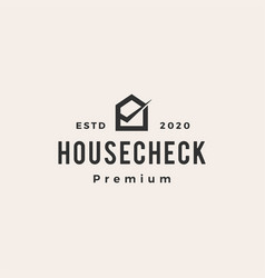home house check hipster vintage logo icon vector image