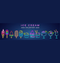 ice cream neon set collection delicious dessert vector image