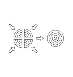 Icon concept four part bulls eye and unite vector