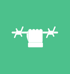 Icon hand holding barbed wire vector