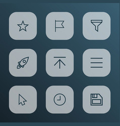 Interface icons line style set with strainer vector