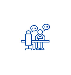 Interview office discussion line icon concept vector