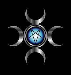 Inverted pentagram with triple goddess vector