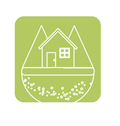 Label nice house in the forest witn mountains vector