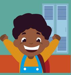Little black schoolboy with schoolbag in school vector
