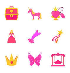 little princess kit icons set cartoon style vector image vector image